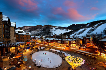 The Rocky Mountains tower over one of the world's most exclusive ski resorts.