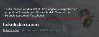 Wegen Serverproblemen war der Ticketshop von Laax offline.