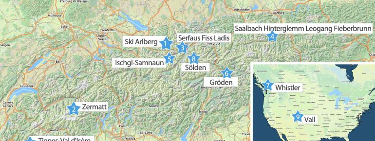 Ski Arlberg führt das Ranking vor Zermatt und Serfaus Fiss Ladis an.