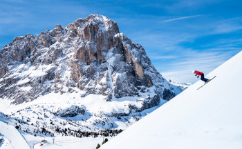 Val Gardena features diverse runs against the stunning Dolomite backdrop.