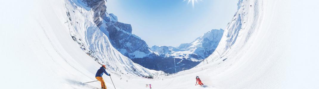 Mehr Skispaß passt nicht in ein Bild - Dolomiti Superski ist der größte Skiverbund der Welt.