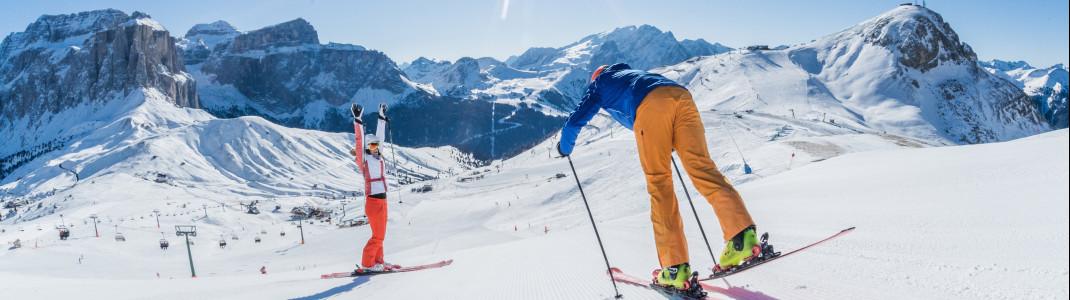 Dolomiti Superski ist der größte Skiverbund der Welt. Die 12 Skigebiete sind mit nur einem Skipass befahrbar.