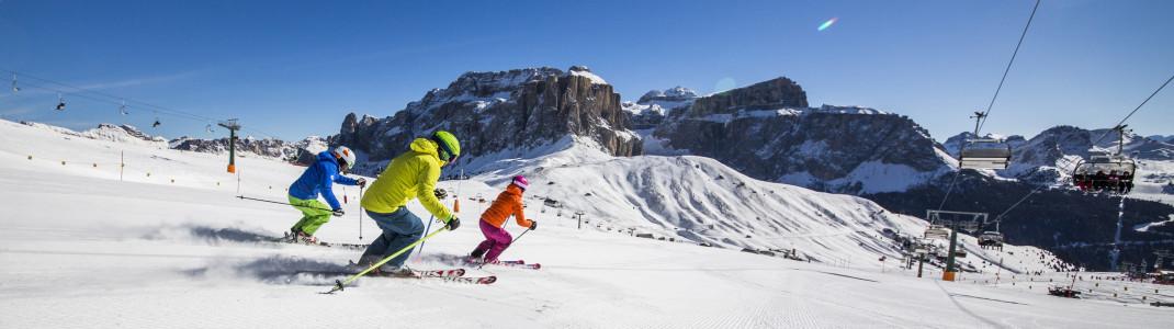 Abwechslungsreiche Pisten und traumhafte Aussichten erwarten dich im Val di Fassa.