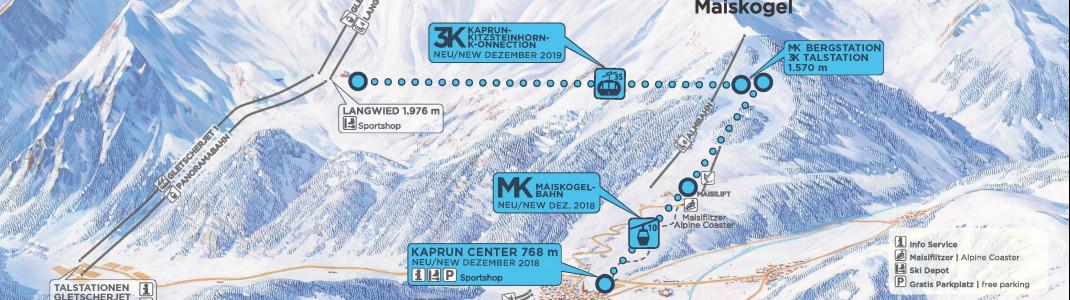 Zwei neue Bahnen verbinden künftig den Ort Kaprun mit dem Maiskogel und dem Kitzsteinhorn.
