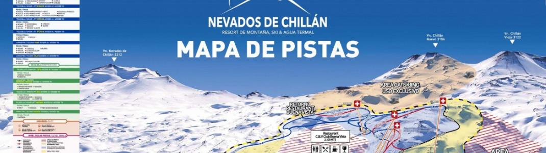 An den Hängen von drei Vulkanen liegt das Skigebiet Nevados de Chillàn. (Zur vollständigen Ansicht auf den Pistenplan klicken.)