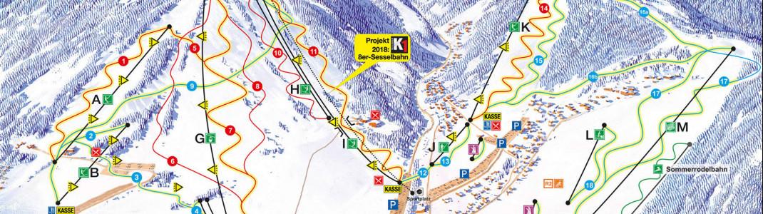 Die neue K1-Sesselbahn wird von der neuen Talstation am Sportplatz hinauf zum Gipfel des Ettelsberg führen.