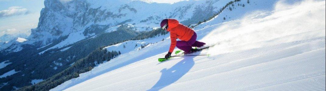 Beim Early Bird Skiing auf der Seiser Alm erwarten dich frisch präparierte und unberührte Pisten.