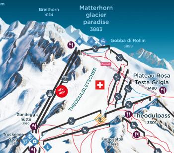 Der neue Glacier Ride und die alte Pendelbahn führen fortan parallel vom Trockenen Steg zum Gipfel.