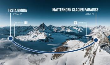 So sieht die geplante Streckenführung zwischen dem Matterhorn glacier paradise im Schweizer Zermatt und der Station Testa Grigia im italienischen Breuil-Cervinia aus.