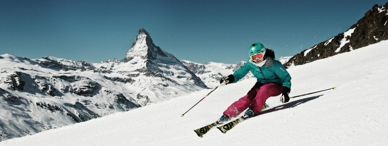 Zermatt: Pisten mit Matterhornblick.