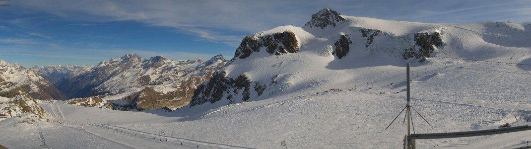 Blick vom Plateau Rosa auf das Zermatter Gletscherskigebiet vom 26.12.2016.