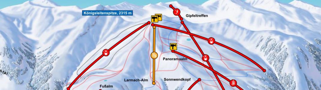 Die neue Larmach-Sesselbahn ist gelb im Pistenplan eingezeichnet.
