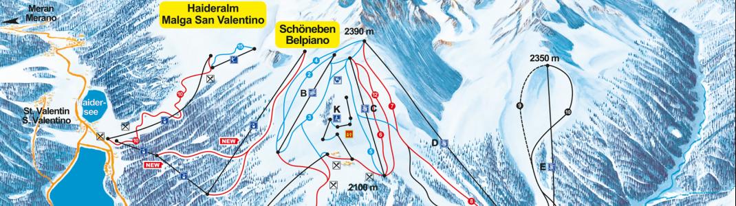 Im Pistenplan sind die beiden neuen Bahnen bereits eingezeichnet. Ab dem Winter 2018/2019 verbinden sie die beiden Skigebiete.