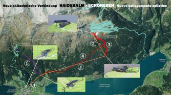 Auch neue Pisten werden gebaut. Die Höllentalpiste (rot markiert) und die Verbindungspiste von der Haideralm zur Mittelstation der Verbindungsbahn (lila markiert).