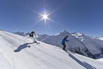 Ski fun in the mountains