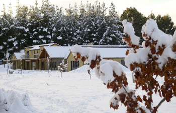 Maple Lodge in winter snow fall