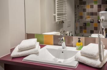 Badezimmer mit Dusche, WC, Ablageflächen und Föhn