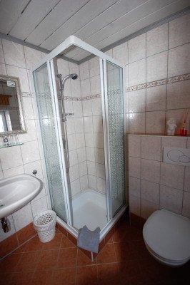 Das Badezimmer im 1. Stock mit Dusche, WC und Waschbecken