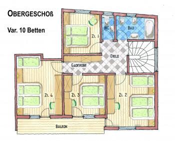 Obergeschoß Plan Var. 10 Betten
