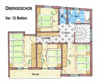 Obergeschoß Plan Var. 12 Betten