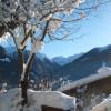 Aussicht vom Balkon auf die Winterlandschaft