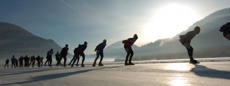 Eissport auf Europas größter Natureisfläche, dem Weissensee