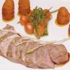 rose gebratener Kalbsrücken mit Karotten