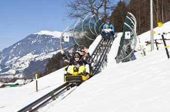 Arena Coaster - the first alpine roller coaster in the Zillertal valley; down at the base station in Zell