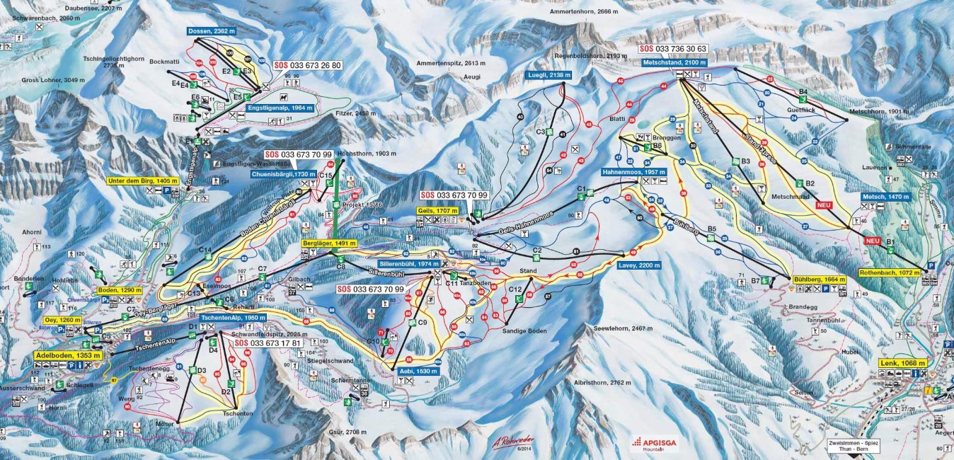 Adelboden Lenk Trail Map Piste Map Panoramic Mountain Map