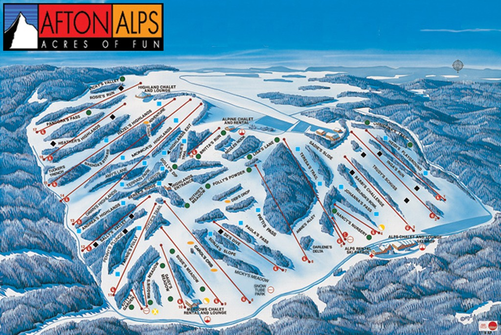 Afton Alps Ski Area Trail Map  Piste Map  Panoramic Mountain Map