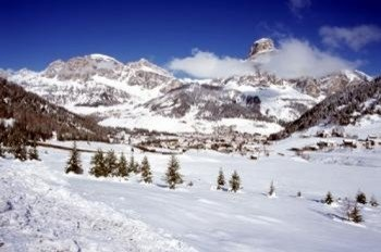 View onto Corvara, the highest situated town in the resort Alta Badia