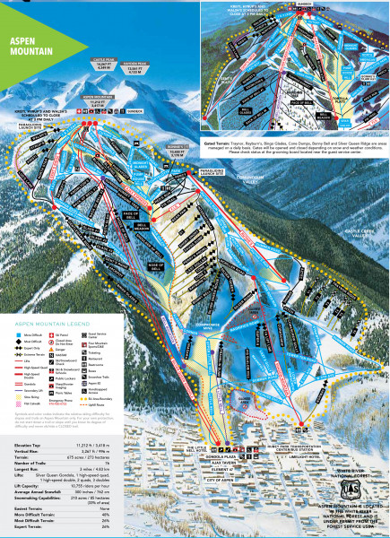 Aspen Mountain Trail Map Piste Map Panoramic Mountain Map