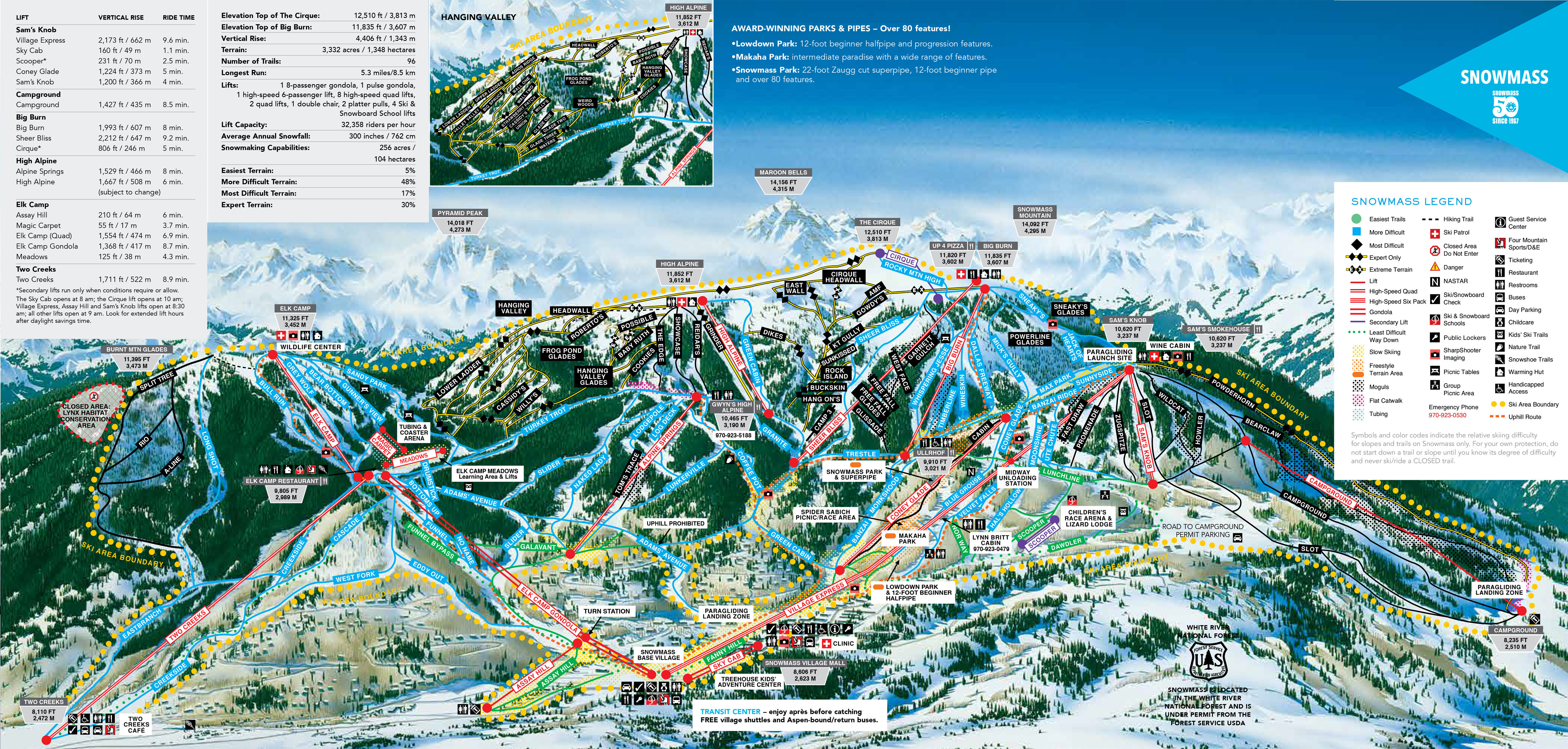Aspen Snowmass Trail Map • Piste Map • Panoramic Mountain Map