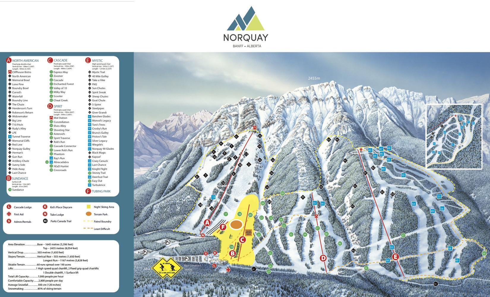 banff mount norquay trail map • piste map • panoramic mountain map