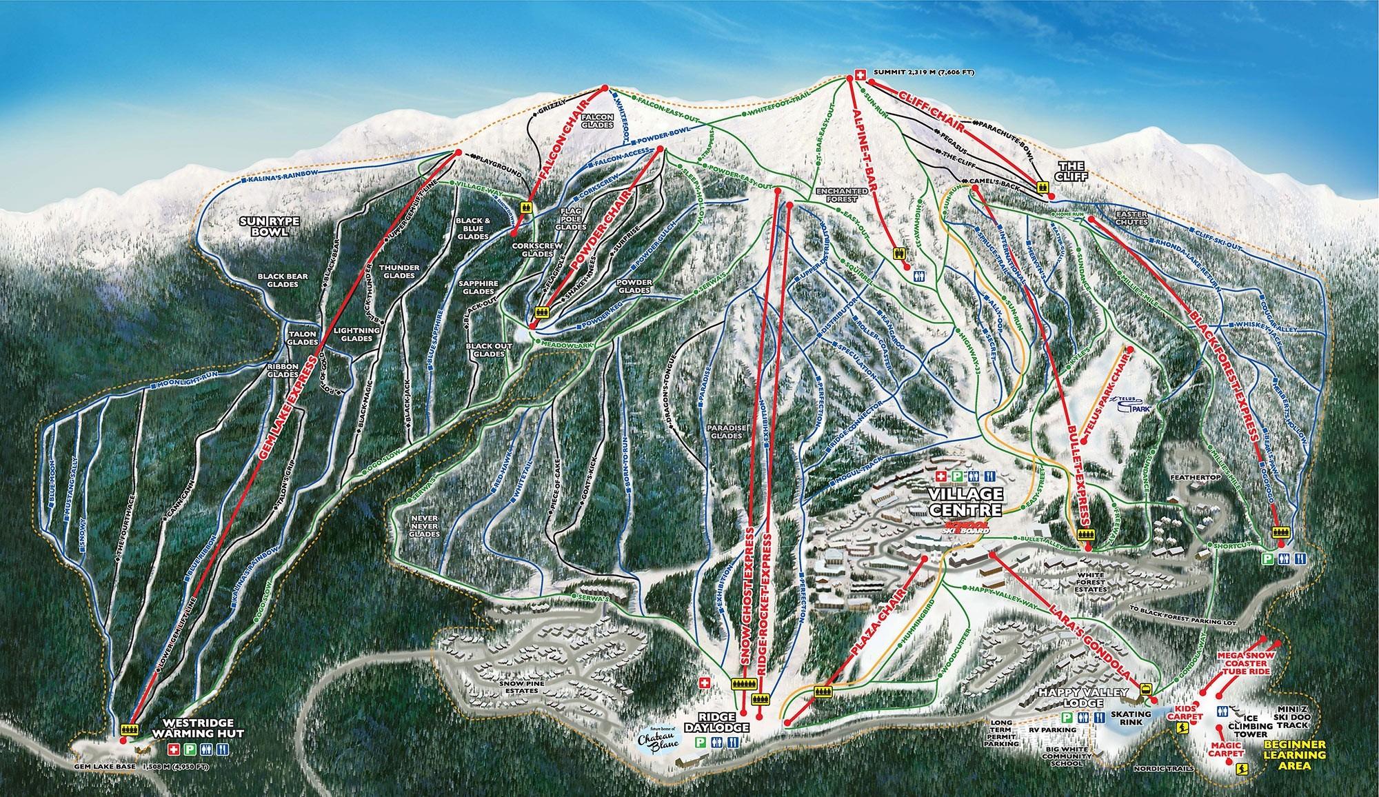Trail Map Big White Ski Resort Panorama