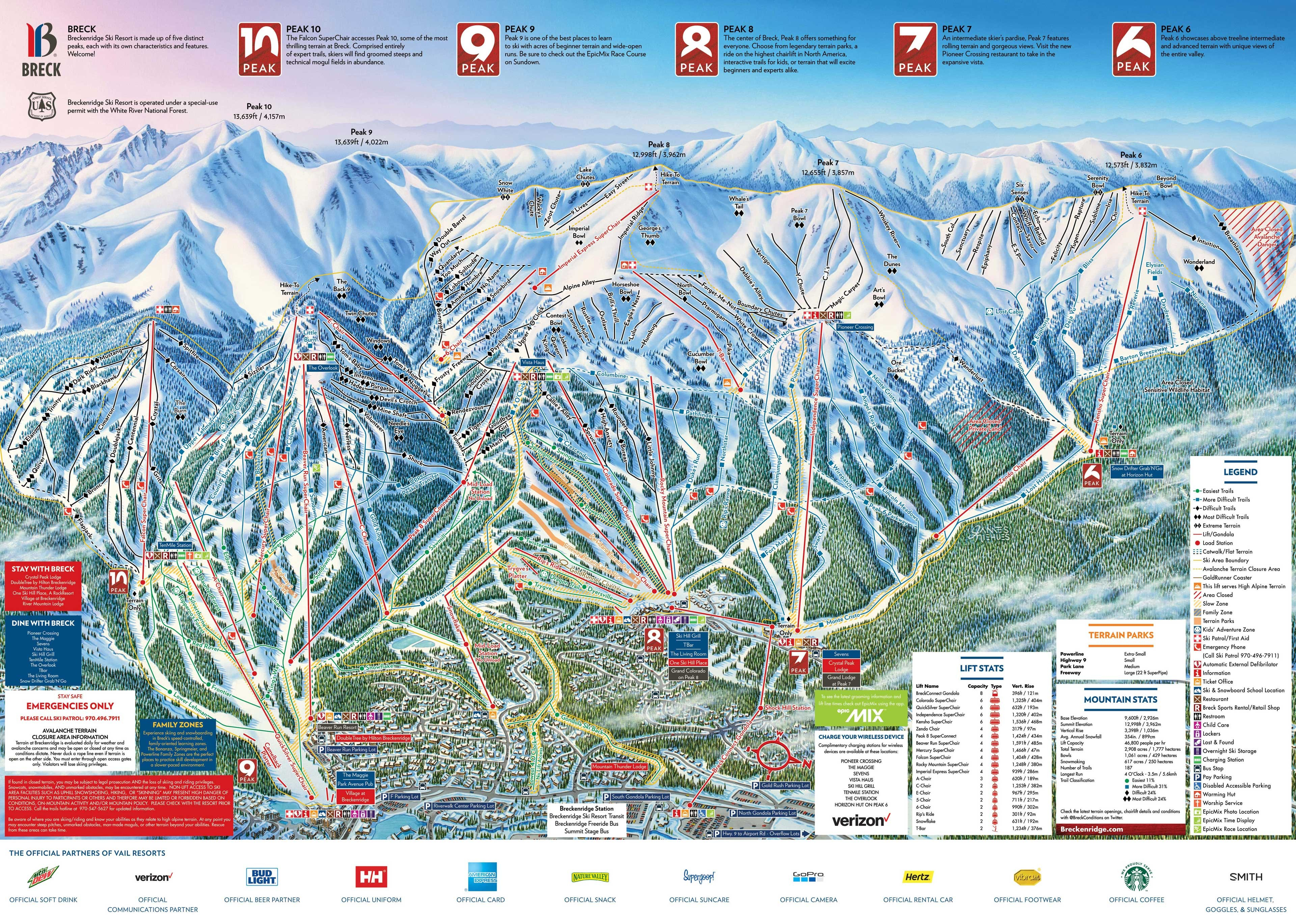 Breckenridge Trail Map • Piste Map • Panoramic Mountain Map on