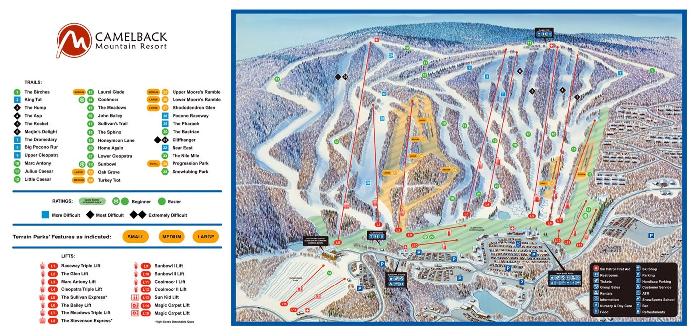 Camelback Ski Area Trail Map Piste Map Panoramic
