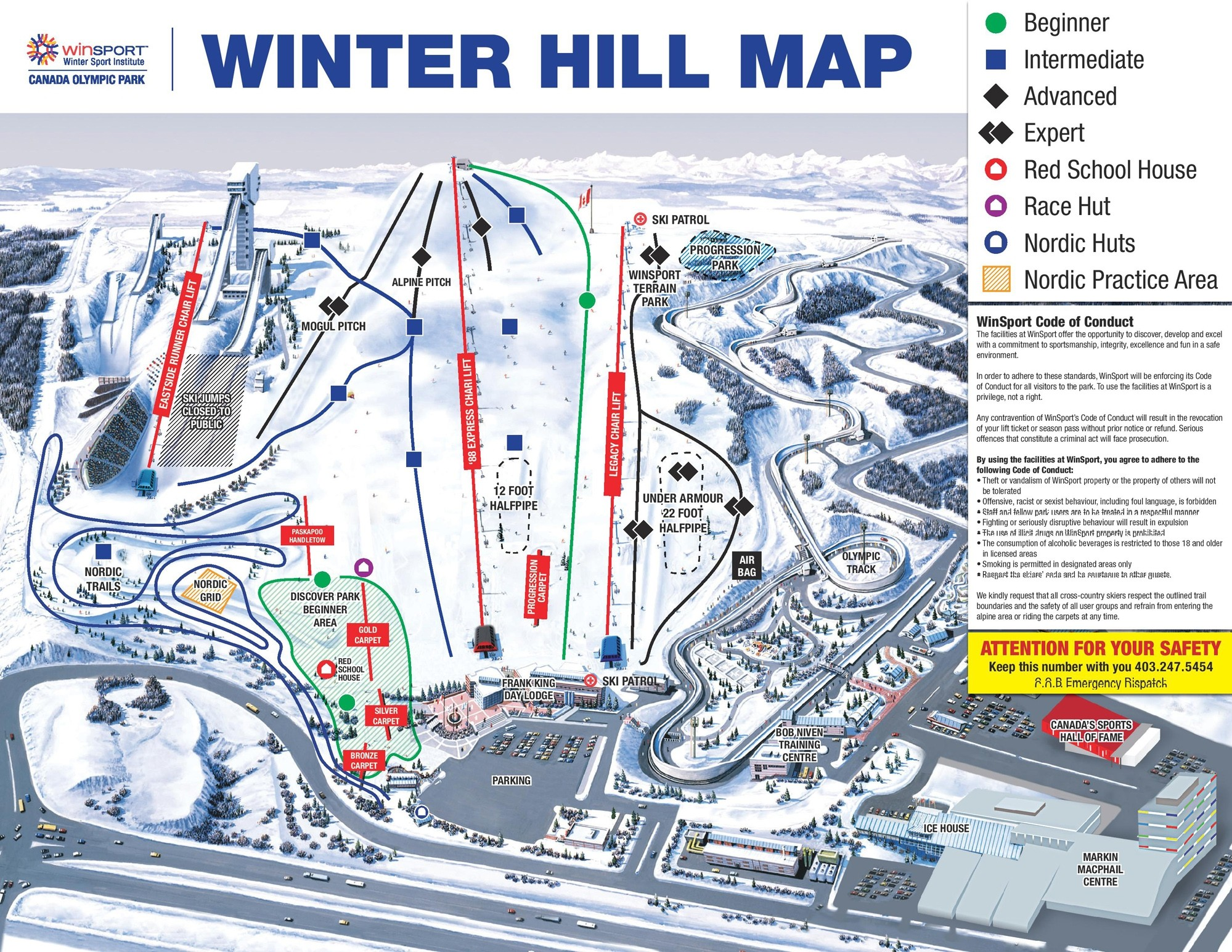 Canada Olympic Park Calgary Trail Map O Piste Panoramic