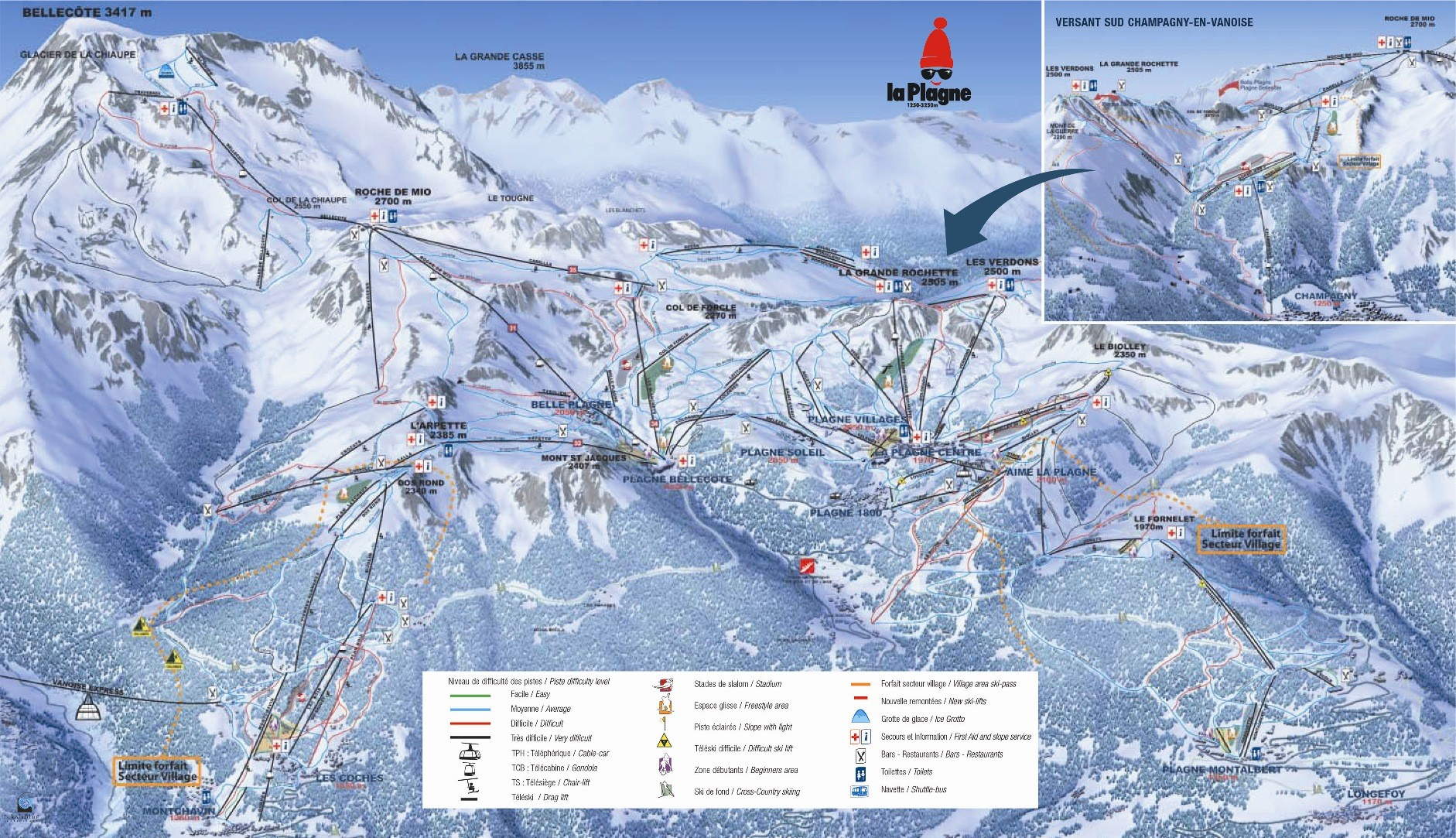 Champagny En Vanoise Trail Map Piste Map Panoramic