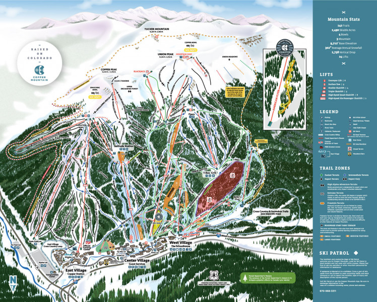 Copper Mountain Trail Map • Piste Map • Panoramic Mountain Map on