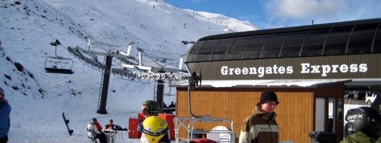 Greengates Express Quad at Coronet Peak ski resort.