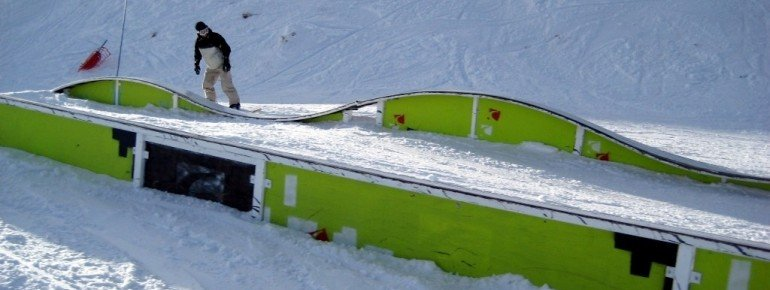 "rails at the ""Up and Go"" terrain park"