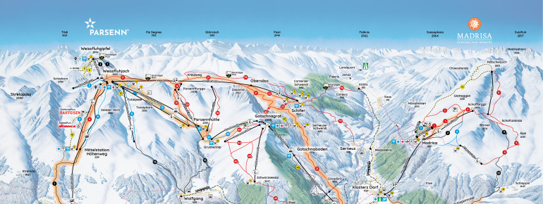 Trail Map Parsenn (Davos - Klosters)