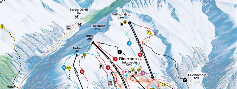 Trail Map Rinerhorn Davos