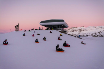 On Tuesday nights, toboggan fans are found all over the slopes.