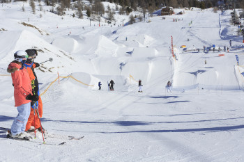Freestyle fans will find seven terrain parks.