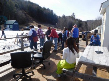 Apres ski on the mahogany deck at Granite Gorge