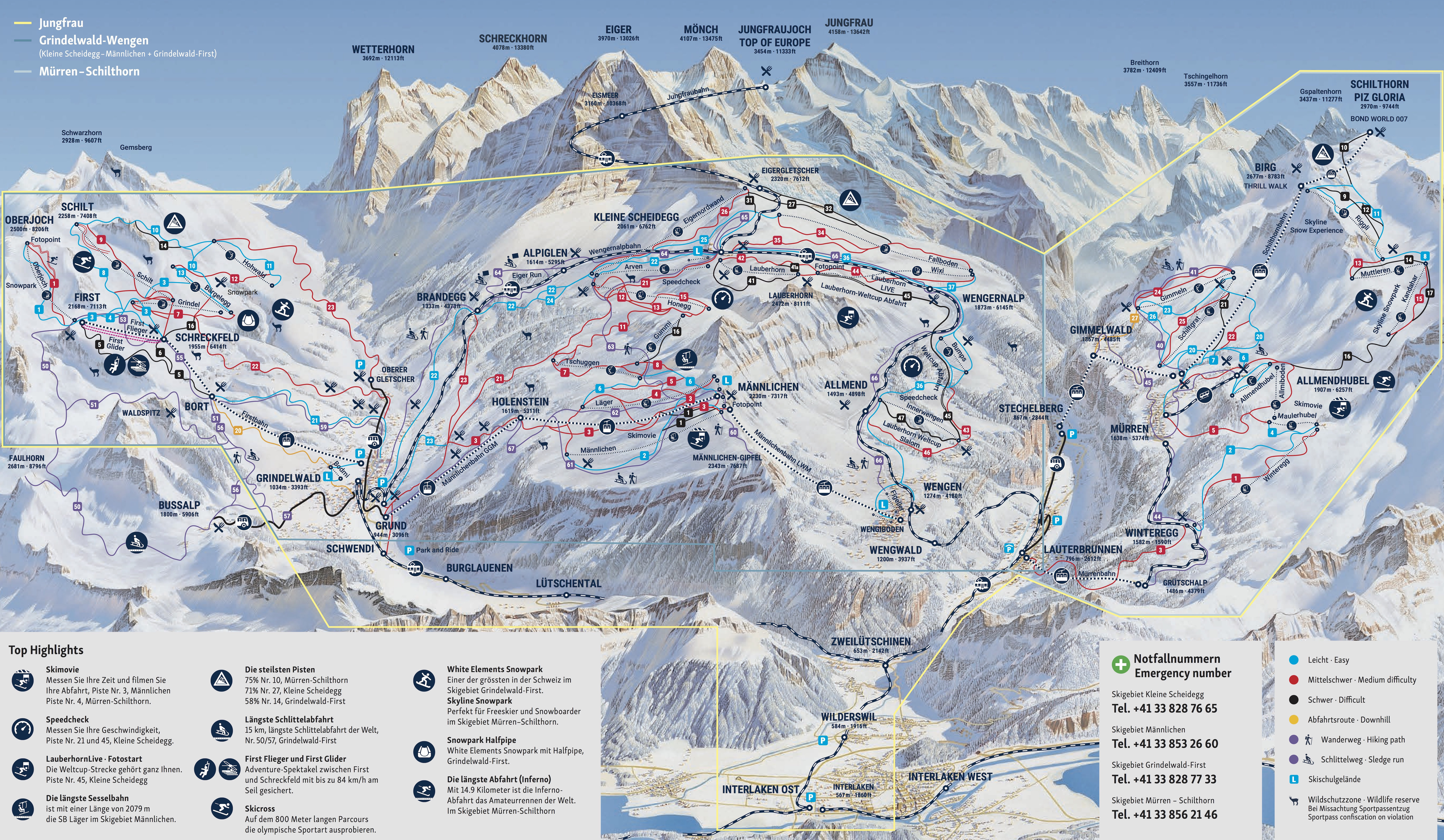 Grindelwald - Wengen Trail Map • Piste Map • Panoramic Mountain Map