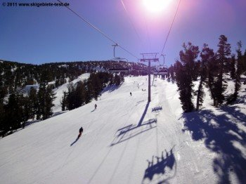 View of the carving slopes around Powderbowl Express and Canyon Express.