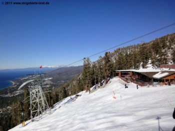 Lakeview Lodge at Aerial Tramway's top station offers its guests a sun terrace with a great view of Lake Tahoe.